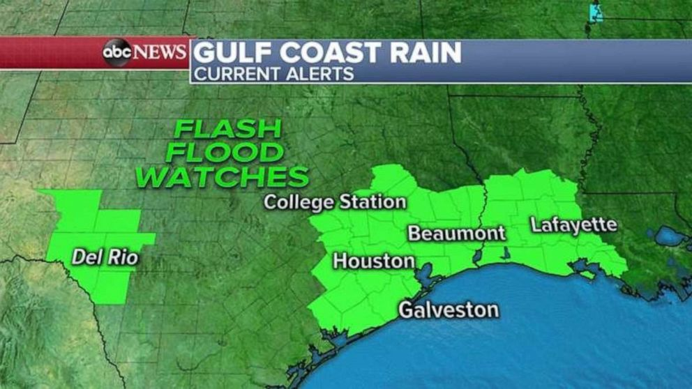 PHOTO: Flash flood watches have been issued in Texas and Louisiana.