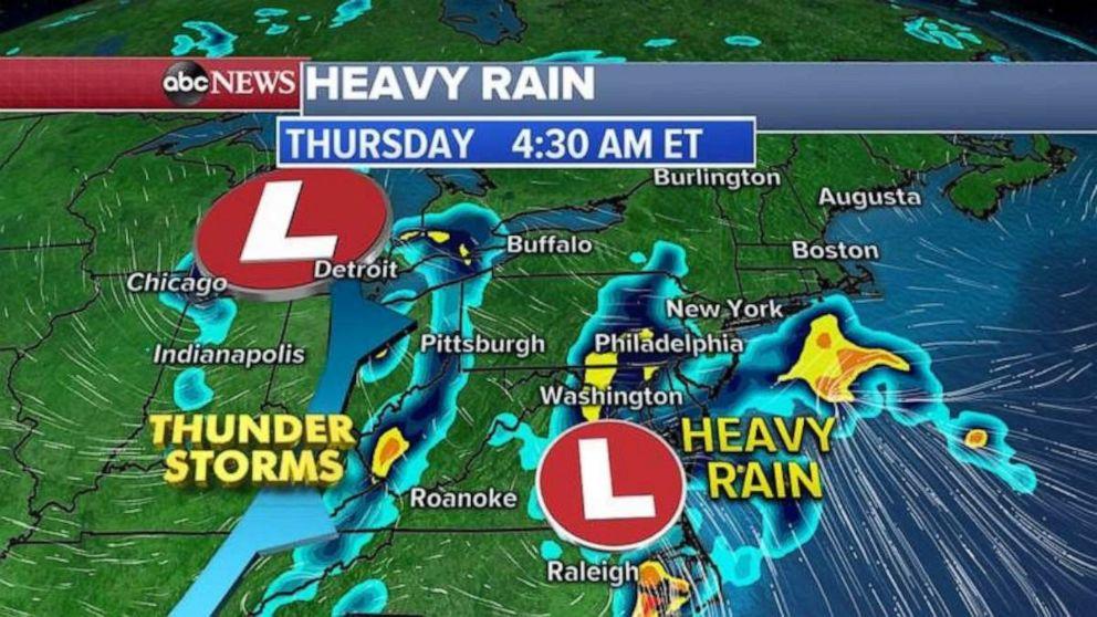 PHOTO: Heavy rains began early Thursday morning.