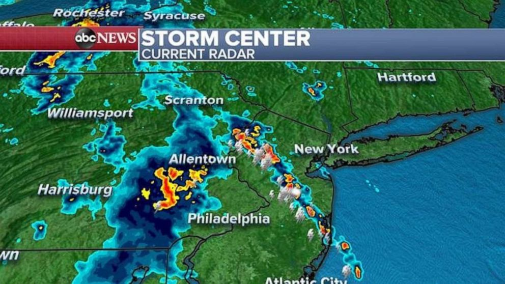 PHOTO: Radar reports Tuesday morning showed a wide swath of storms in the eastern U.S.