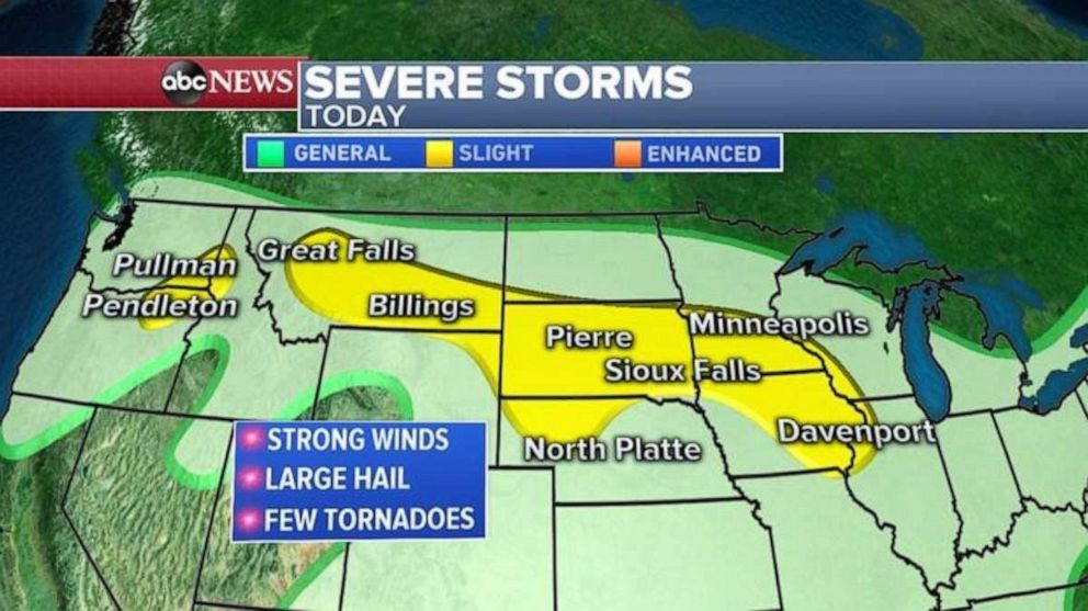 PHOTO: Severe storms are stretched across the Upper Midwest on Wednesday.