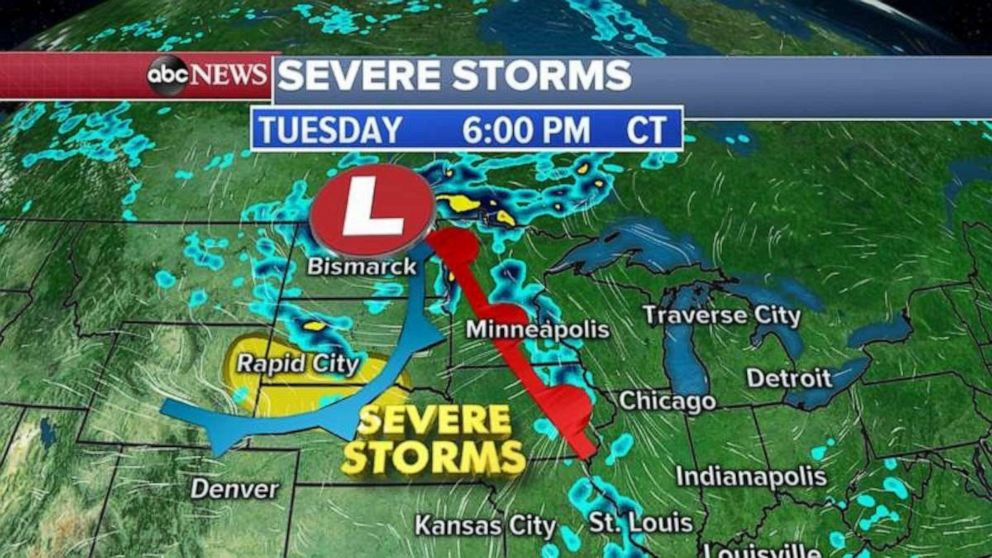 PHOTO: Severe storms are forecast to blanket much of the Upper Midwest on Tuesday.