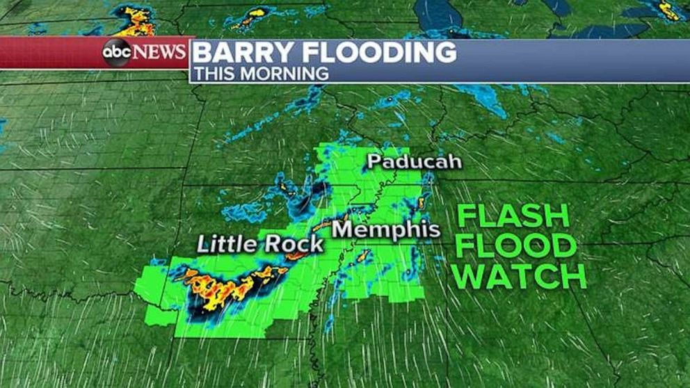 PHOTO: Flash flood watches are still in effect Tuesday morning because of Barry.