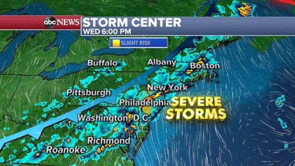 PHOTO: Severe storms along the East Coast are forecast for Wednesday.