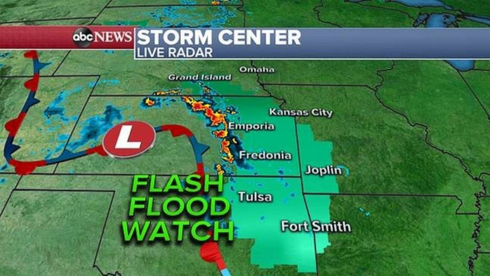PHOTO: A flash flood watch has been issued in the Midwest.