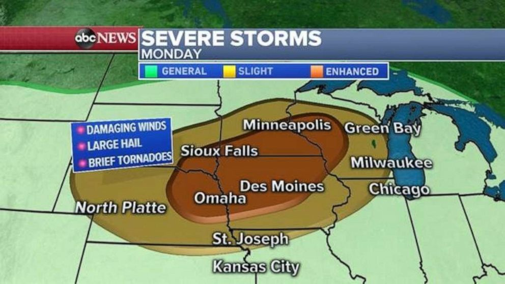 PHOTO: Severe weather is expected in the Upper Midwest on Monday.