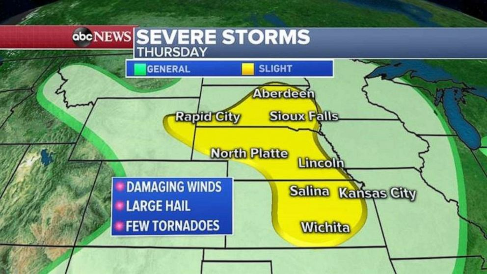 PHOTO: Severe storms are forecast for much of the Midwest on Thursday.