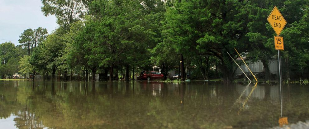 PHOTO: Roadways and yards are flooded after heavy rain from Tropical Depression Barry fell in Lake Charles, La. Monday, July 15, 2019.