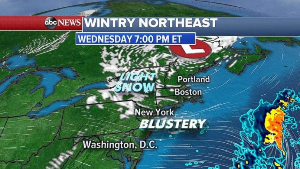 Blustery conditions are expected to linger tonight in the Northeast.