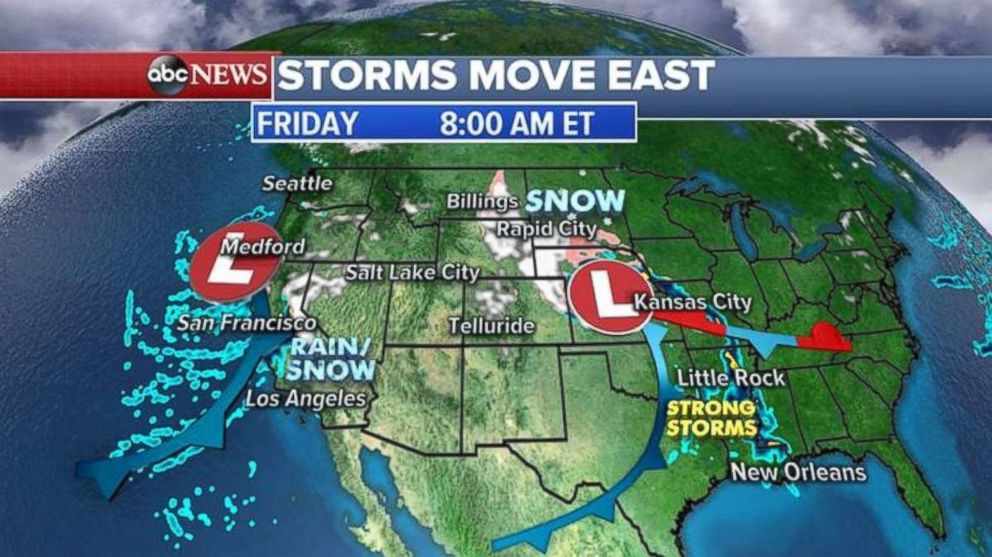 This morning, a storm is stretching from the Gulf Coast all the way to the Upper Plains.