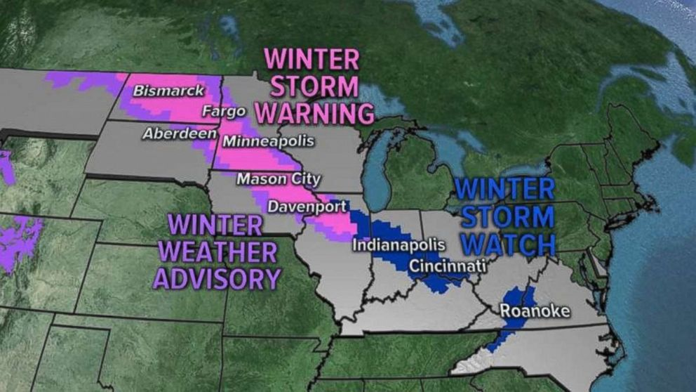 Thirteen states are on alert for heavy snow.