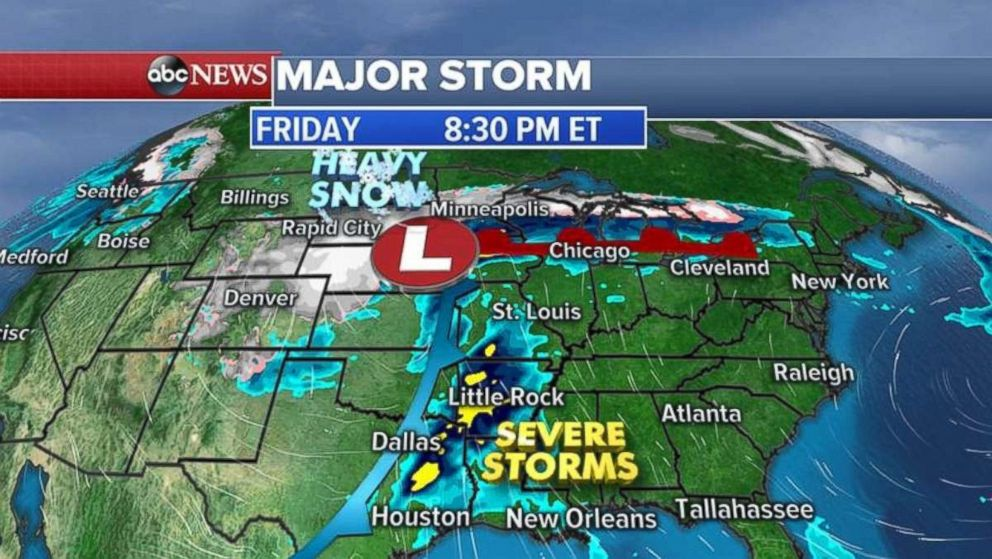 Severe storms are expected Friday from the Gulf Coast up to Michigan.