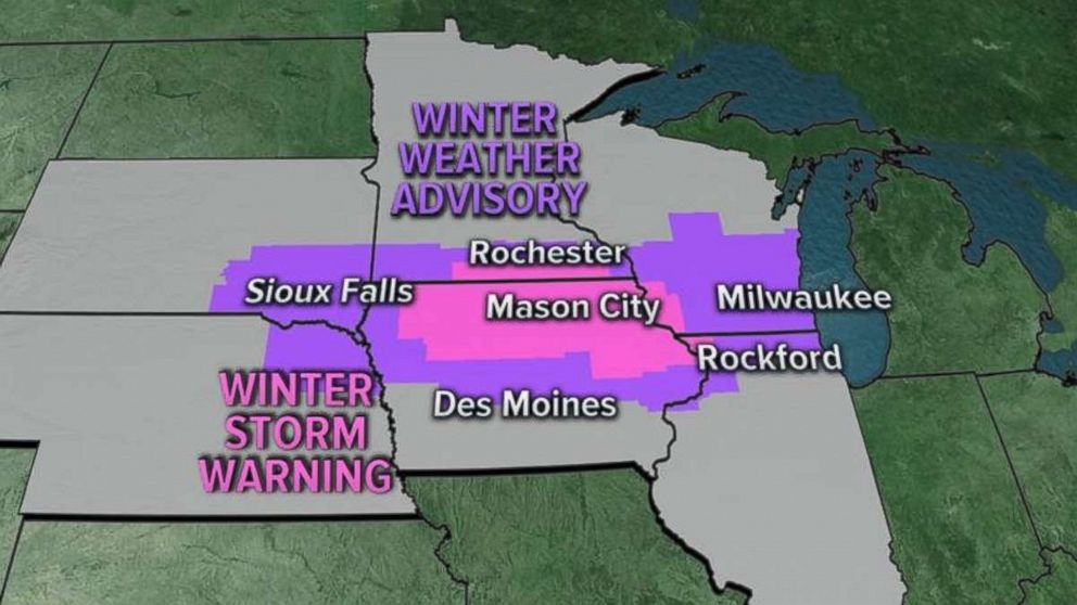 Storm warnings and advisories have been issued for much of the upper Midwest.