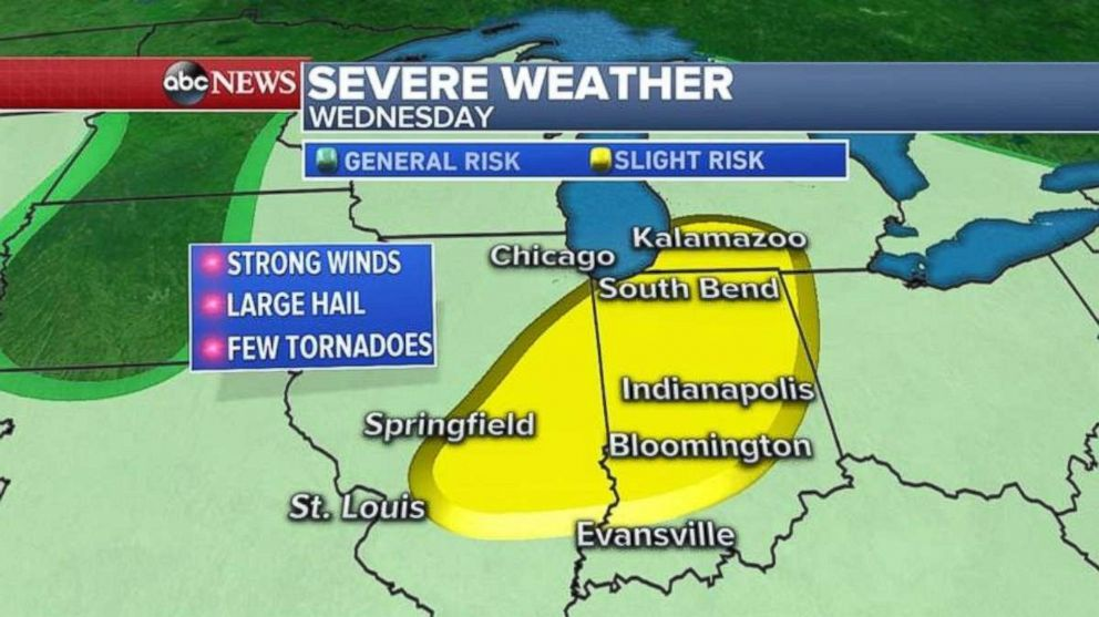 Illinois, Michigan and Indiana may see tornadoes today.