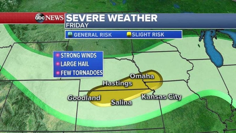 More stormy weather is expected in the Plains on Friday.