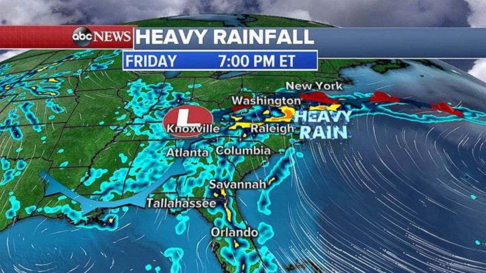 Waves of heavy rain from Florida up through southern New York may lead to flooding through Saturday.