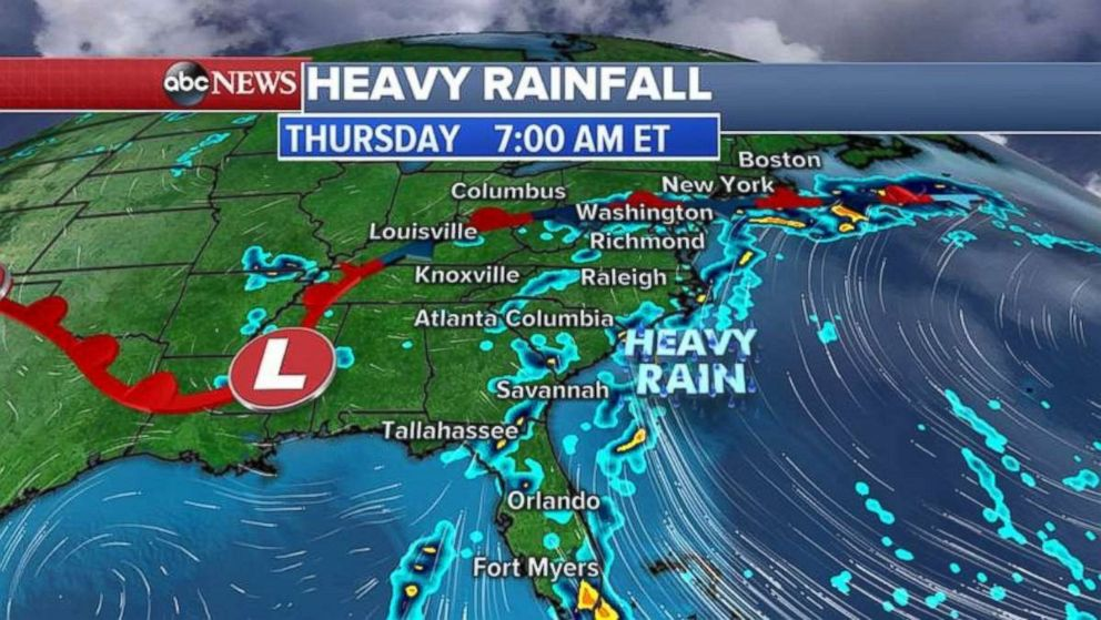 Severe rainfall is expected up and down the East Coast today.