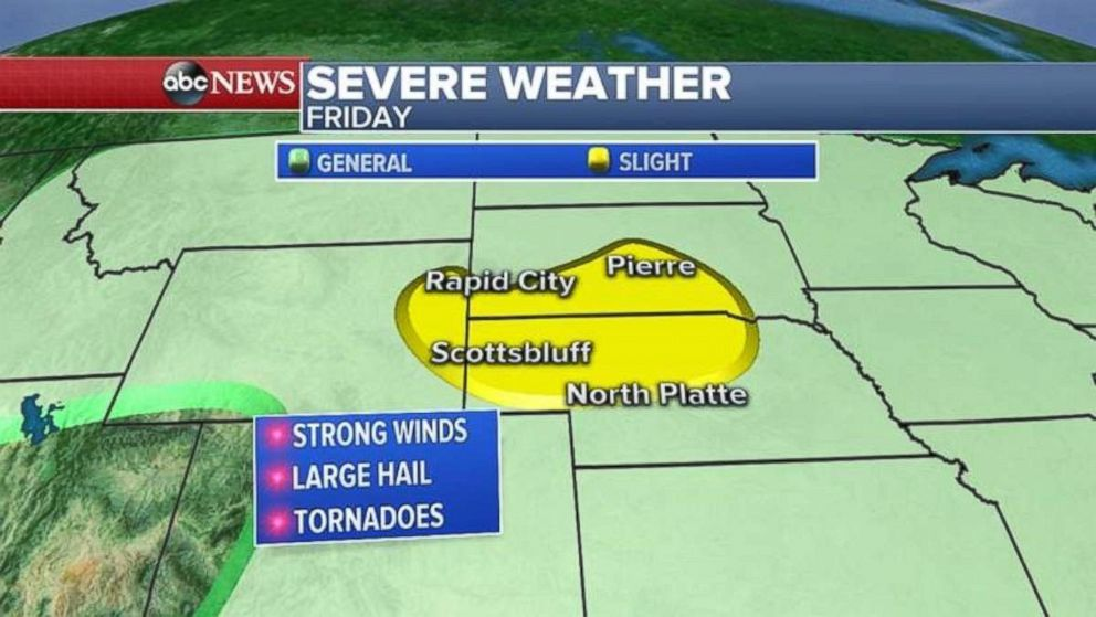 On Friday, the severe storms will be concentrated in three states.