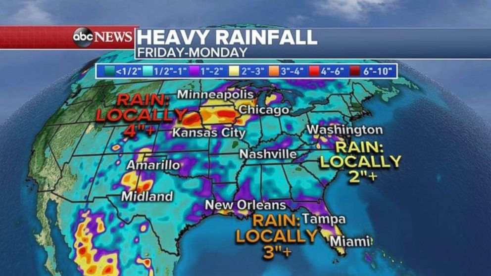 Heavy rainfall through Monday is expected for most of the U.S.