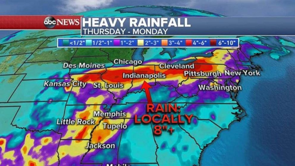 Heavy rainfall is expected through Monday for much of the eastern U.S.