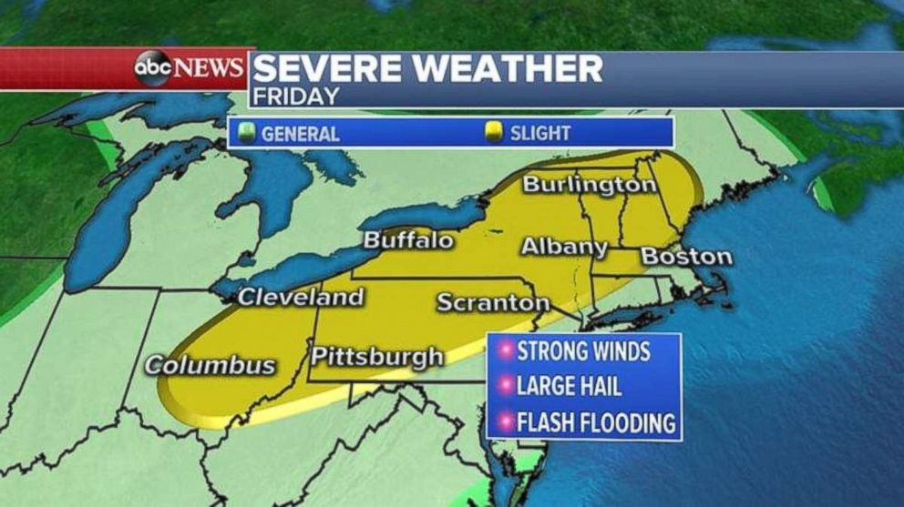 Severe weather is likely in the Northeast on Friday.