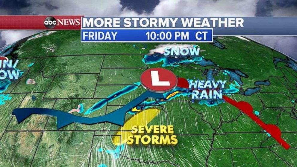 Severe storms are expected to pound the Midwest through tonight.