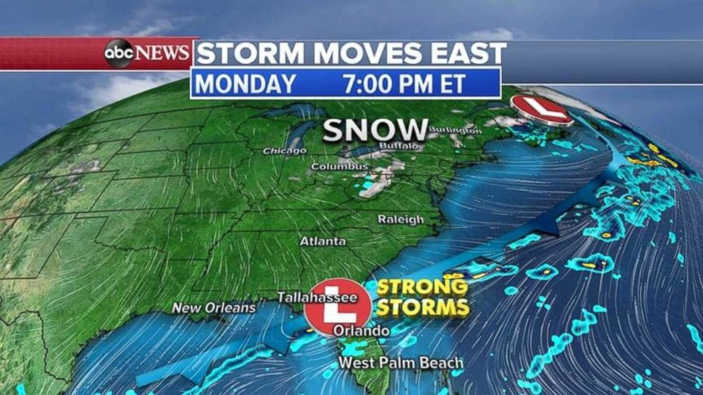Much of the strong East Coast storm will be out to sea later tonight.