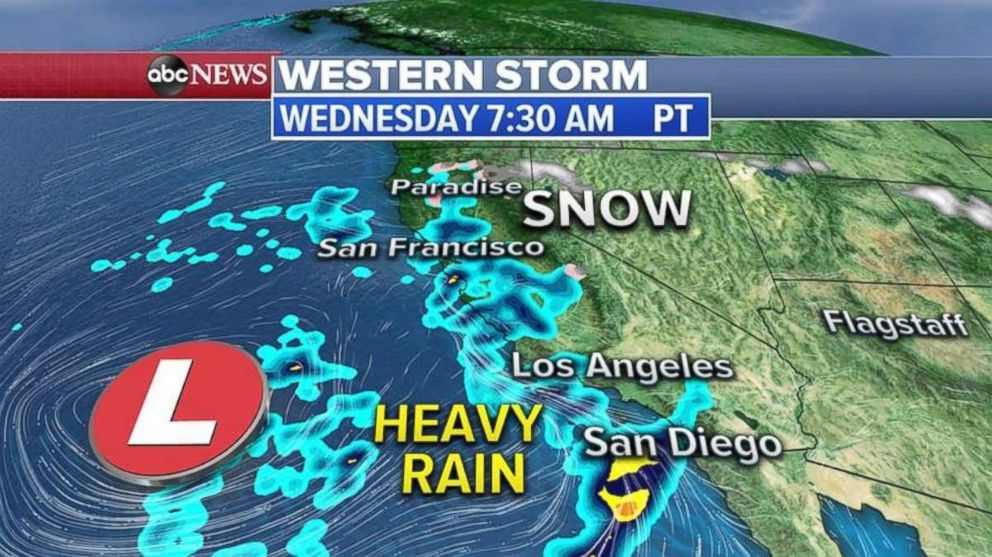 Heavy rain is likely Wednesday morning along the West Coast.