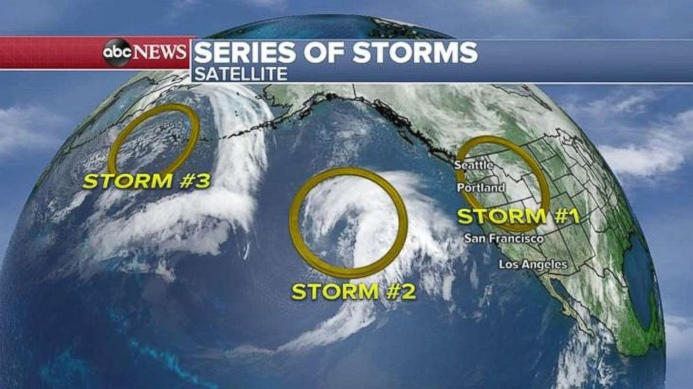 Satellite imaging shows a series of storms in or recently in the Pacific Ocean.
