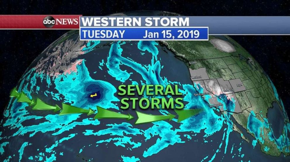 Several storms still are heading toward the West Coast.