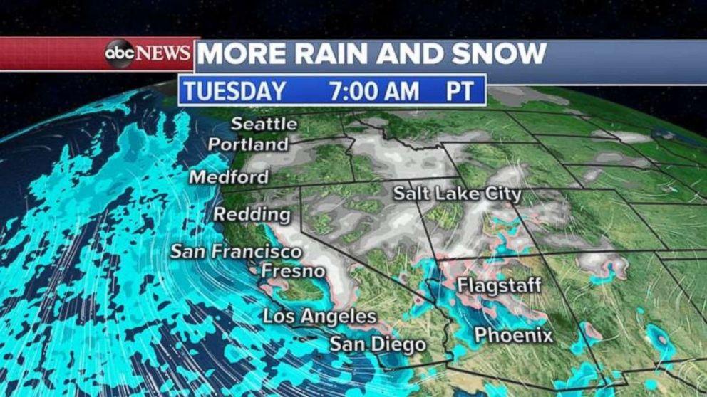 More rain and snow are targeting California tomorrow.