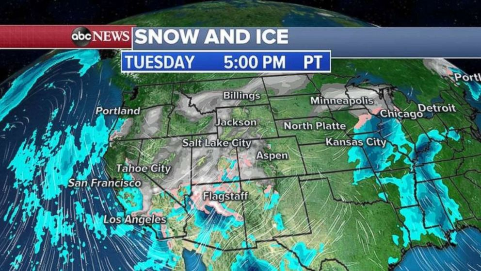 More snow and ice are heading east tonight.