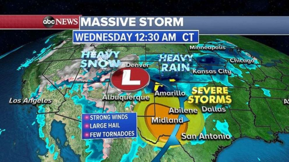 PHOTO: Texas is expecting severe storms beginning early Wednesday.