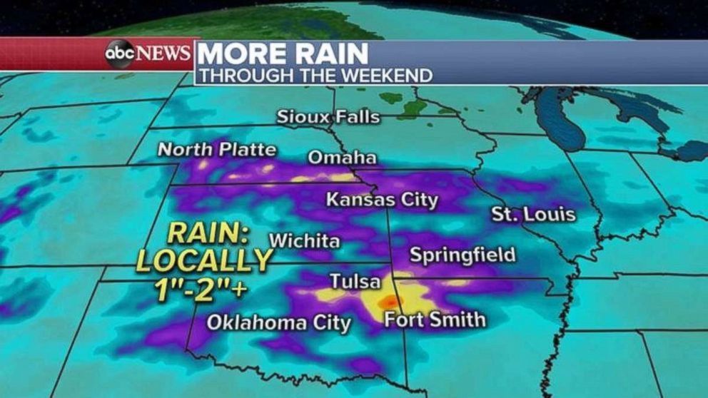 More rain is expected in the already-saturated Midwest.