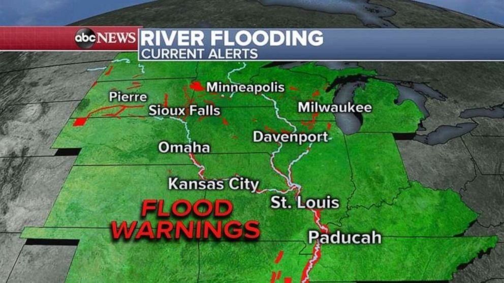 Flood warnings remain in effect today for much of the Midwest.