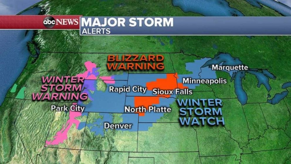 PHOTO: Blizzard alerts and warnings have been issued ahead of the major storm.