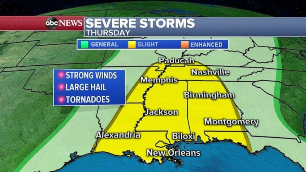 Severe weather in the South should continue on Thursday.