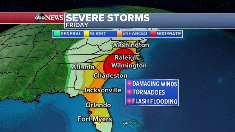 PHOTO: Virginia and the Carolinas may see severe storms today.