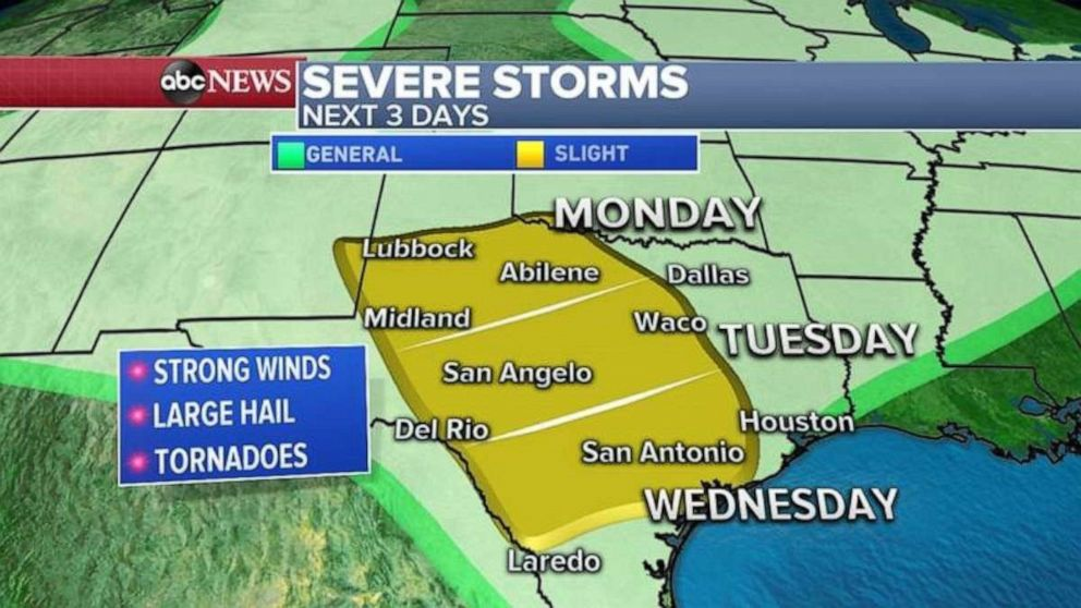 PHOTO: Texas is expecting severe weather through Wednesday.