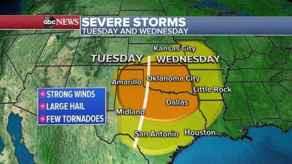PHOTO: Large parts of Texas and Oklahoma are expecting severe storms this week.