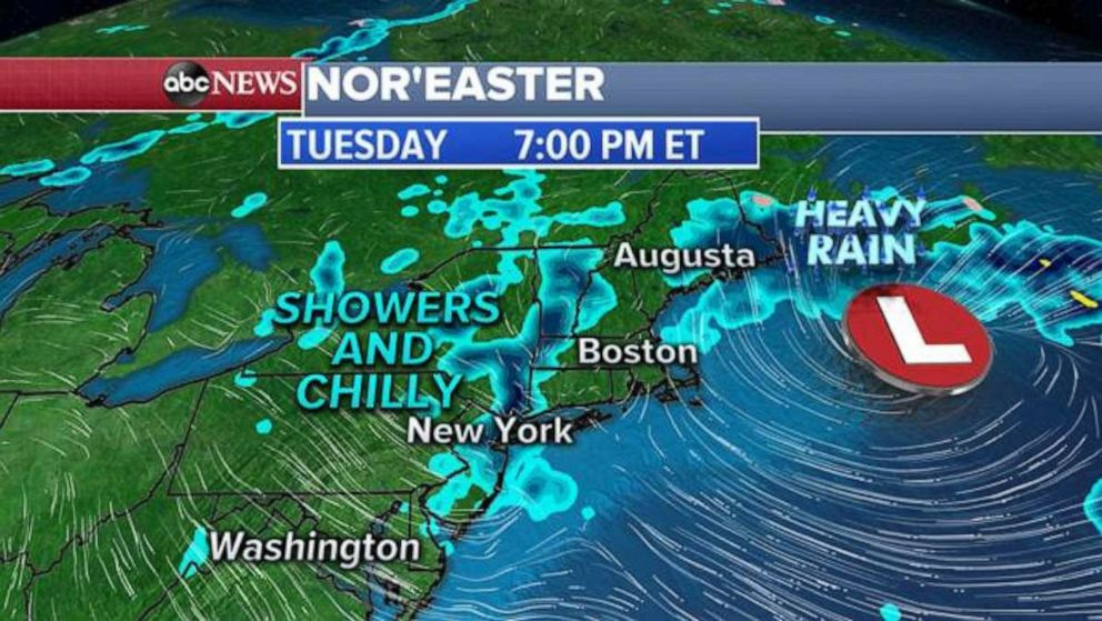 PHOTO: Cold showers are in the forecast tonight for much of New England.