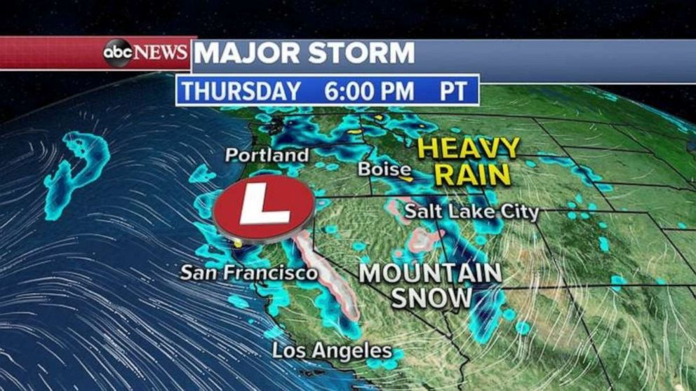 PHOTO: Mountain snow is expected tonight out West from the new storm.