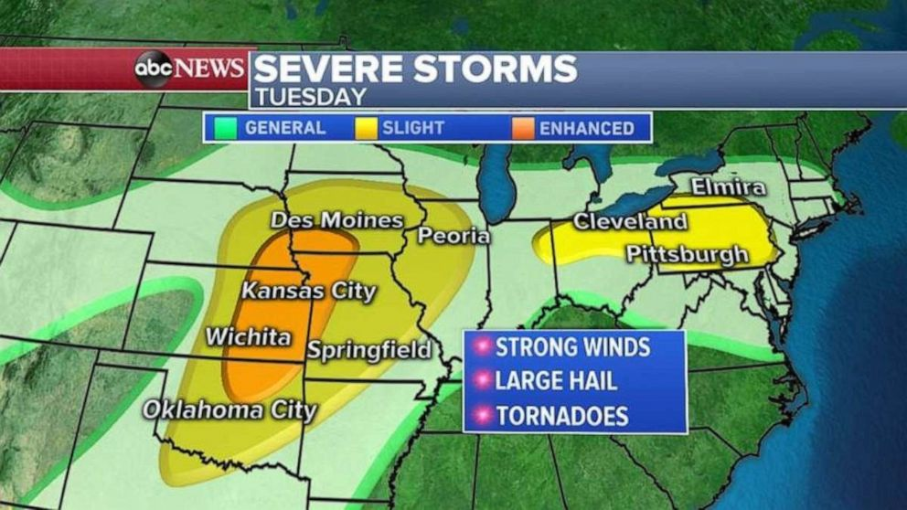 PHOTO: Severe weather is expected on Tuesday in the Midwest.