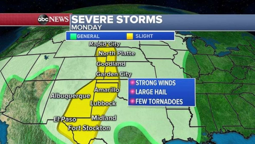 PHOTO: Severe storms again are threatening the middle part of the country.