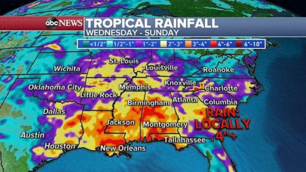 PHOTO: Heavy rainfall is expected for much of the U.S. through the end of the week.