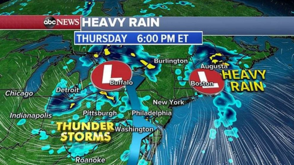 PHOTO: Heavy rainfall is expected Thursday throughout much of the East.