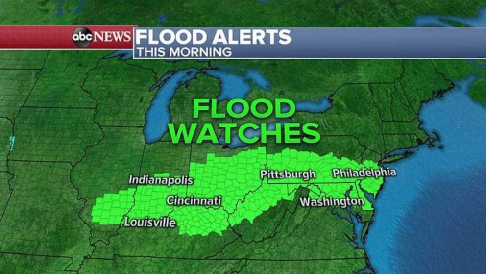 PHOTO: A wide patch of flood watches have been issued for Monday morning.