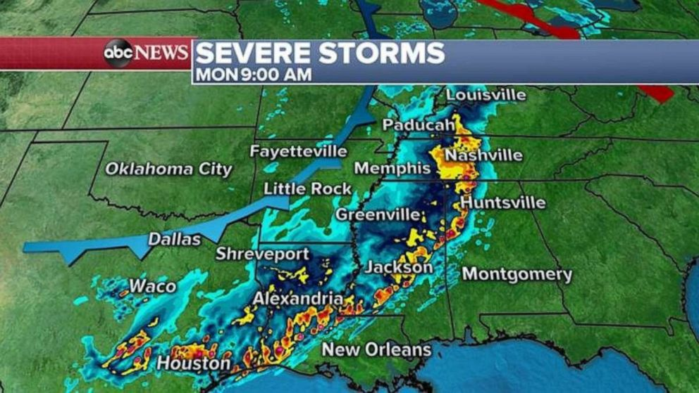 PHOTO: A massive swath of severe storms likely will stretch from Houston to Louisville on Monday morning.