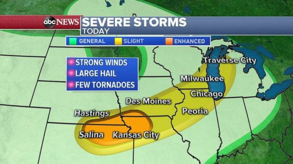 PHOTO: Severe storms on Tuesday stretch from Kansas into Michigan.