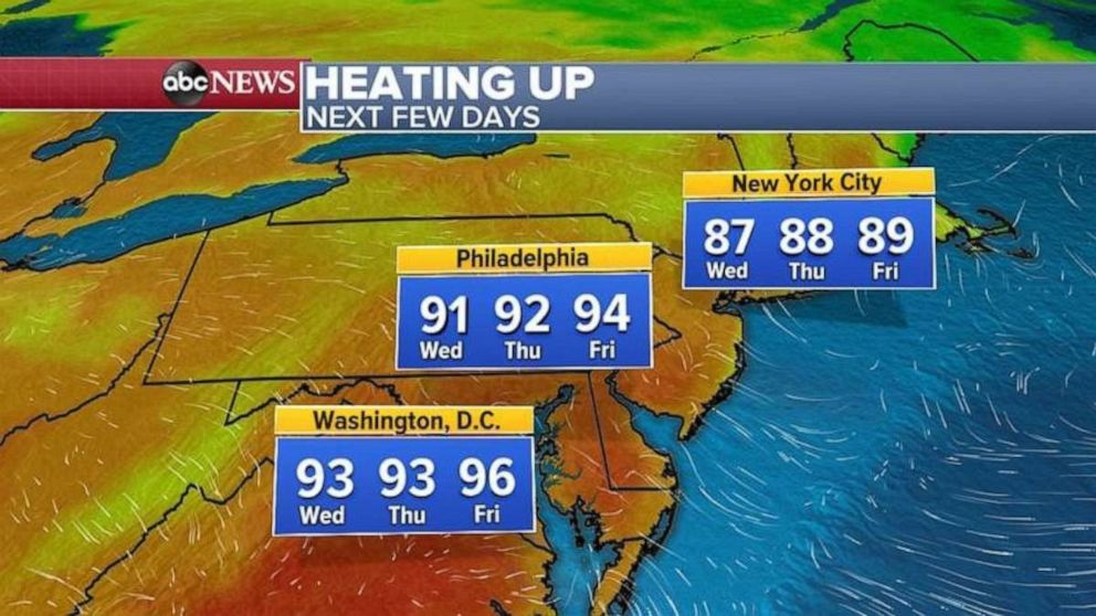 PHOTO: Warmer weather along the East Coast is in the forecast.