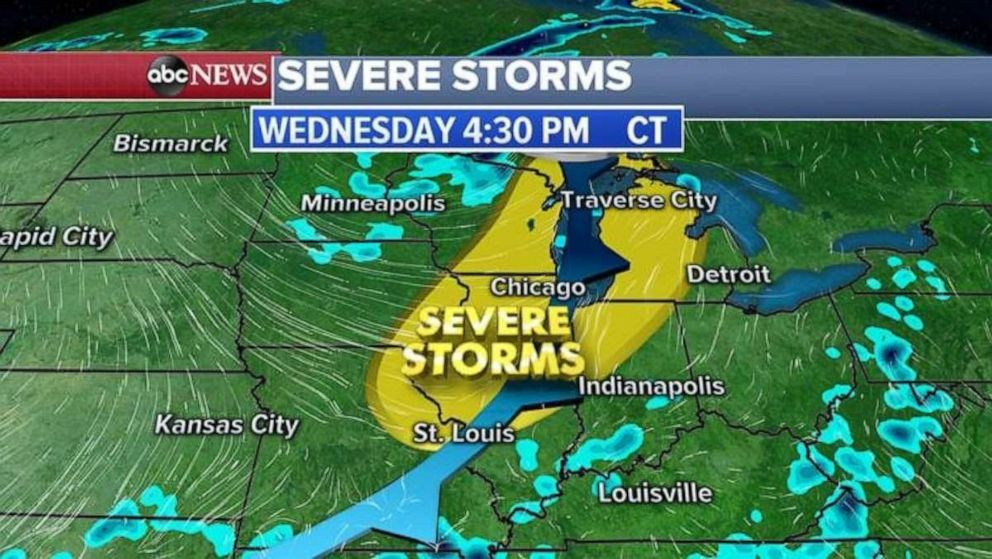 PHOTO: Severe storms in the Midwest are expected to continue Wednesday afternoon.